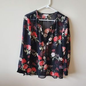 Joie Womens Silk Floral Sheer Top   Size Small